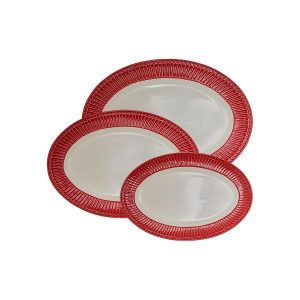 Serving plate Alice red set of 3