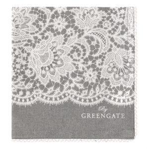Liva Warm Grey brødkurvsserviet fra GreenGate. Smuk grå farve der passer til meget.