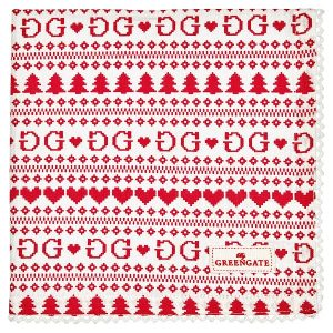 Napkin with lace December red 40x40cm