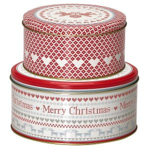 Round box - Dåsesæt December red set of 2