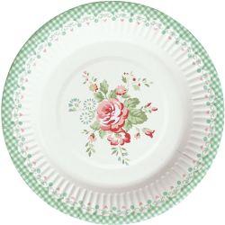 GreenGate Paptallerken - Paper Plate Abelone Mint 12 stk
