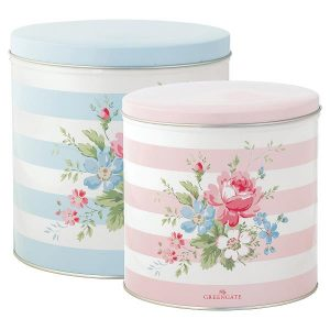 GreenGate - Dåsesæt - Round box Marie pale blue set