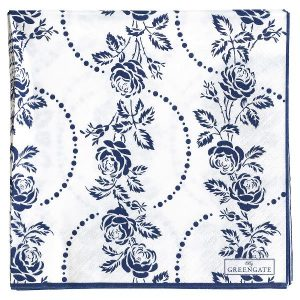 GreenGate Paper Napkin - Servietter - Fleur blue large