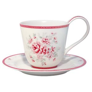 GreenGate Kop m/underkop - Cup & saucer Flora white