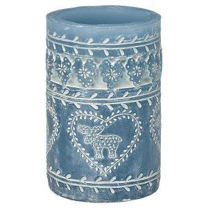 Bloklys - Pillar dusty blue H:12cm