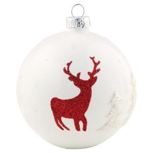 Ball glass Deer white hanging