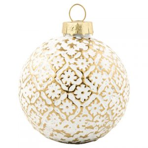 greengate ball glass flower gold hanging small
