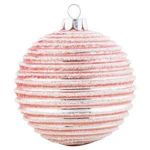 Ball glass pink w/silver hanging
