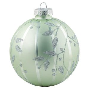 Ball glass pale green w/silver