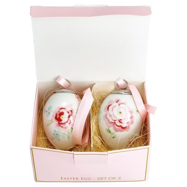 Greengate Decorative Egg Set of 2 - Meryl White