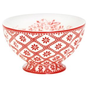 GreenGate French bowl - Skål - medium Bianca red