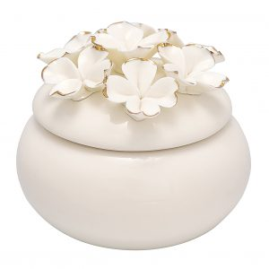 GreenGate Jewelry Box Flower White w/gold Small