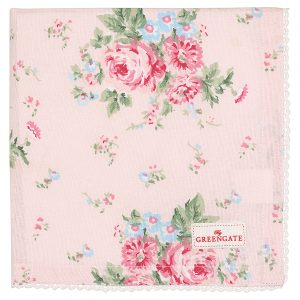 GreenGate Napkin With Lace - Brødkurvsserviet - Marley pale pink