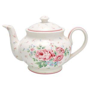 GreenGate Teapot Round - Tekande - Marley White