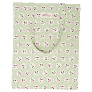 GreenGate Bag Cotton – Bomulds Indkøbsnet – Cherry Berry Pale Green