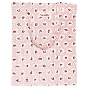 GreenGate Bag Cotton – Bomulds Indkøbstaske – Strawberry Pale Pink