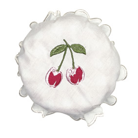 GreenGate Jam Lid Cover Cherry Berry White w/embroidery
