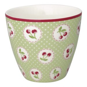 GreenGate Latte Cup – Cherry Berry Pale Green