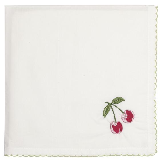 GreenGate Napkin – Brødkurvsserviet – Cherry red w/embroidery