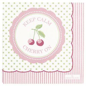GreenGate Napkin - Kaffeservietter - Cherry Berry Pale Green