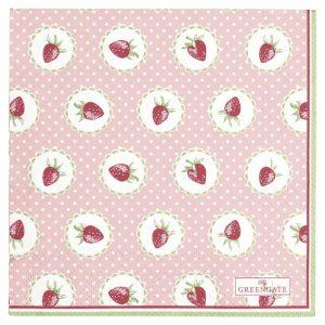 GreenGate Napkin Small – Kaffeservietter – Strawberry Pale Pink