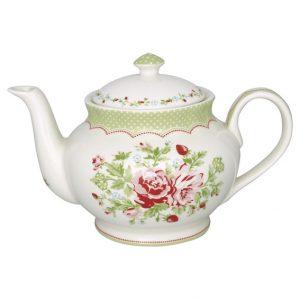 GreenGate Teapot round - Tekande – Mary white