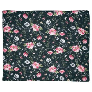 GreenGate Bed cover / Quilt / Tæppe Meadow black 140 x 220 cm.