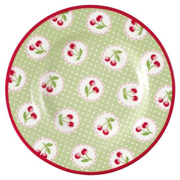 GreenGate small plate - Tallerken - Cherry berry p.green