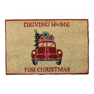 GreenGate Doormat - Dørmåtte - Christmas Car Red