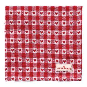 GreenGate Napkin – Brødkurvsserviet – Heart Petit Red