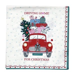 GreenGate Napkin – Servietter – Christmas Car Red small