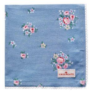 GreenGate Napkin With Lace – Brødkurvsserviet – Nicoline Dusty Blue
