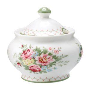 GreenGate Sugar Pot Round – Sukkerskål – Aurelia White