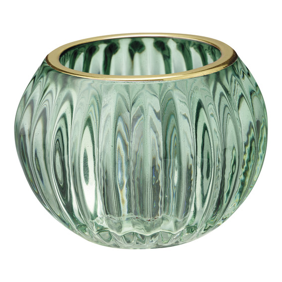 GreenGate Candle holder Green w/gold small